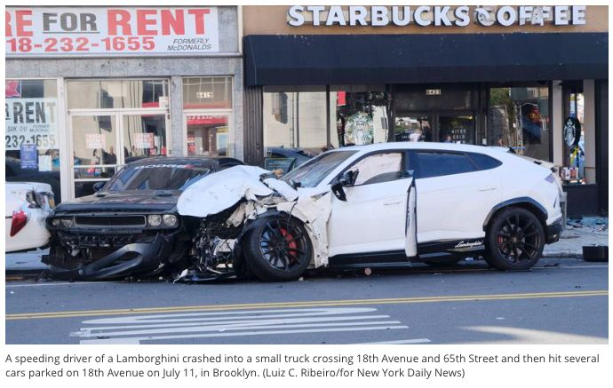 Image of two cars crashed into each other outside a Starbucks cafe