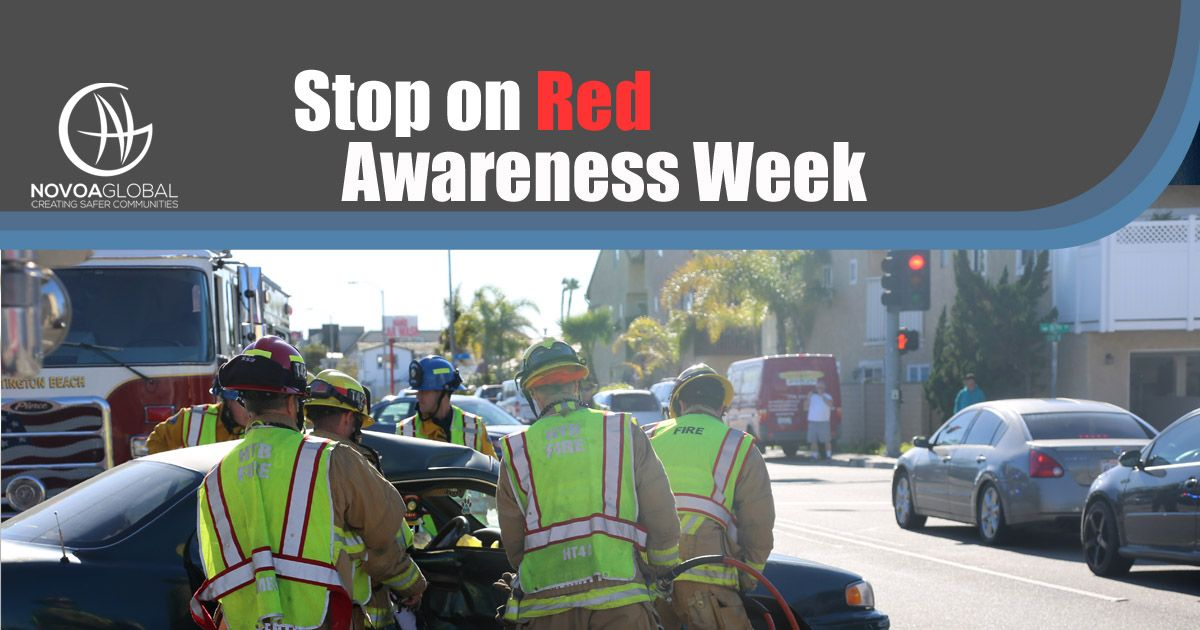 Image of red traffic light close up - says stop on red awareness week. NovoaGlobal Educates