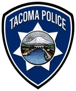 Graphic of Tacoma Police in shape of a shield with star and image of Tacoma inside shiled
