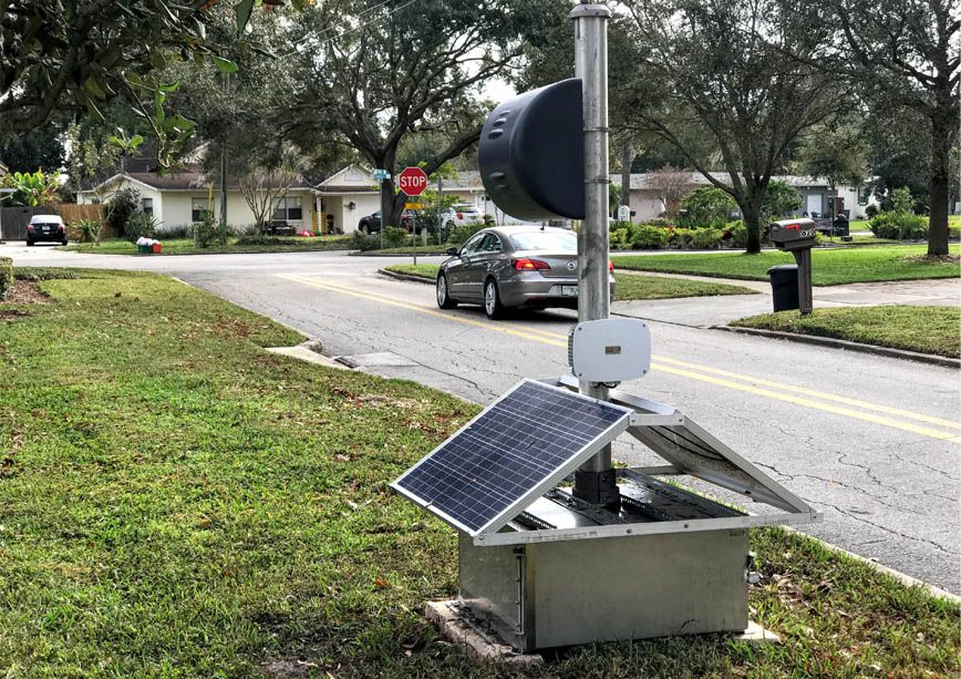 Portable traffic enforcement system with solar panels