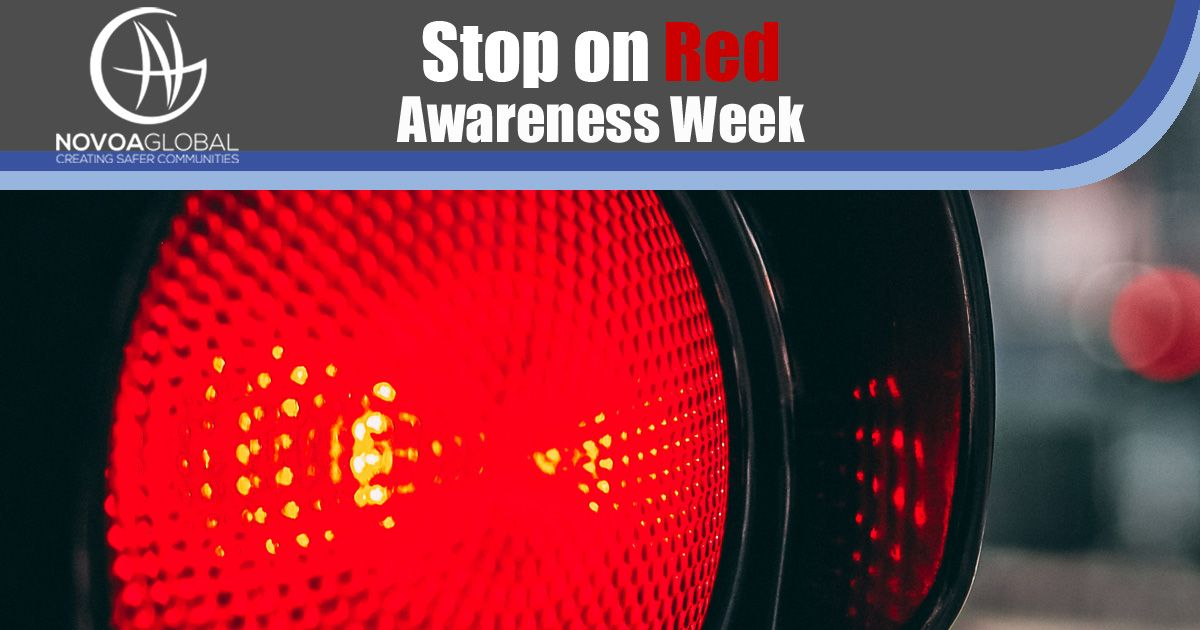 Stop on Red Awareness Week and image of red light close up