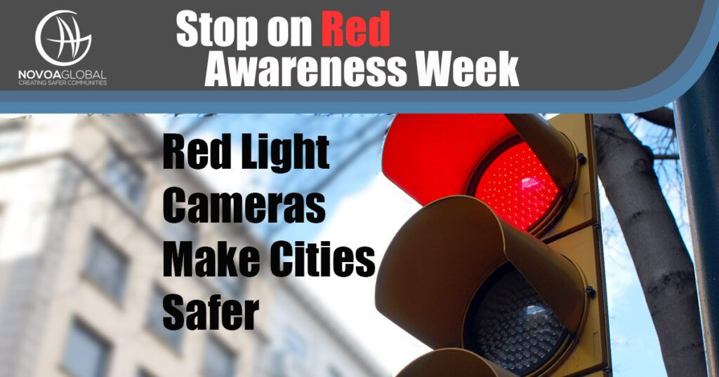 Image of Traffic Light Graphic that says Stop On Red Awareness Week - Red Light Cameras Make Cities Safer