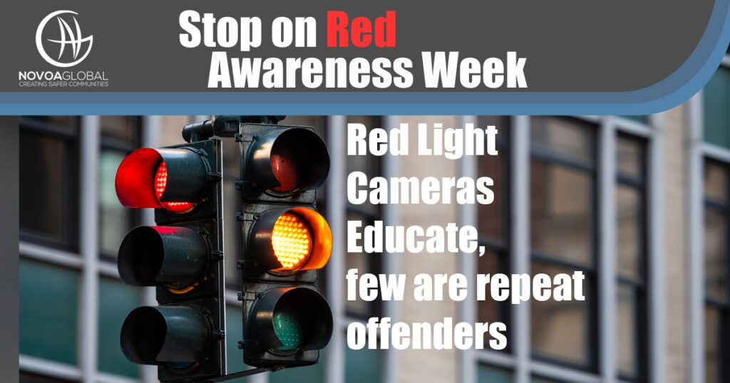 Image of Traffic Light Graphic that says Stop On Red Awareness Week - Red Light Cameras Educate, few are repeat offenders