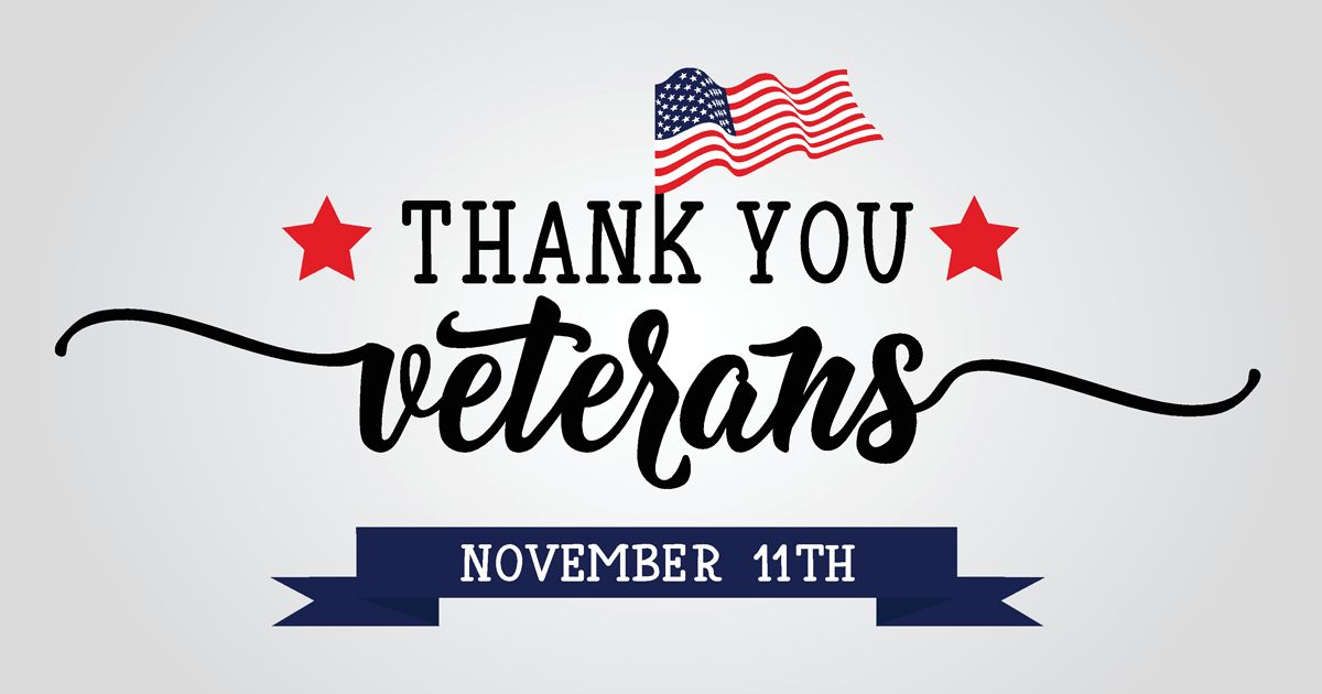 graphic of american flag with words thank you veterans November 11th