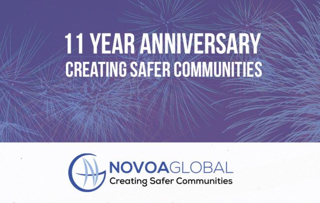 11 year anniversary Creating Safer Communities over fireworks and logo
