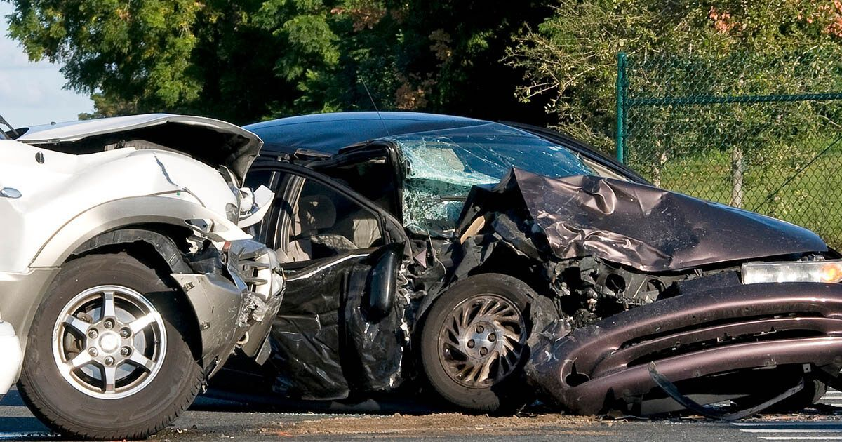 two car accident, cars smashed