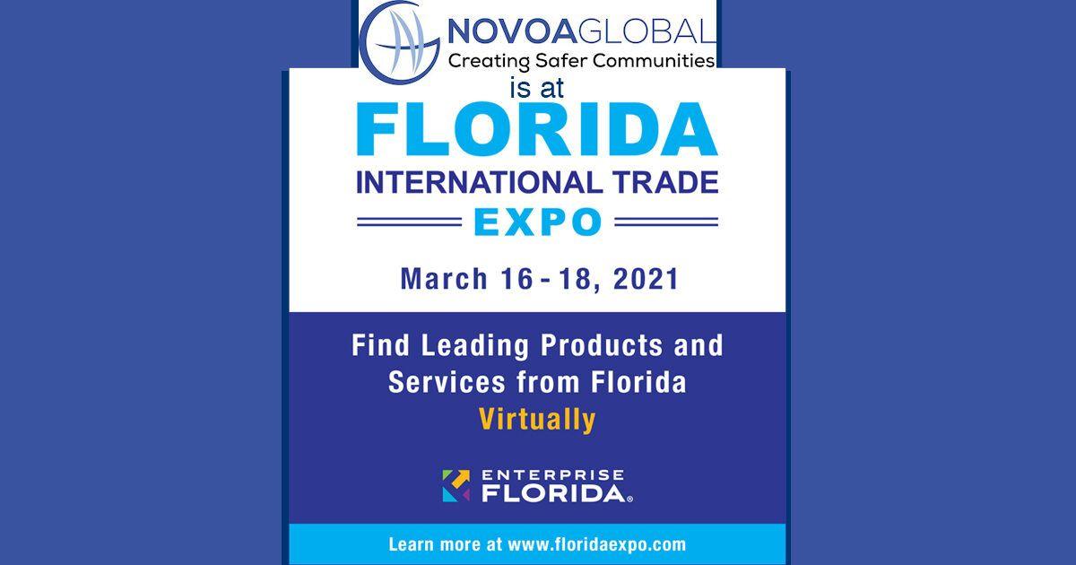 Graphic saying NovoaGlobal is at Florida International Trade Expo