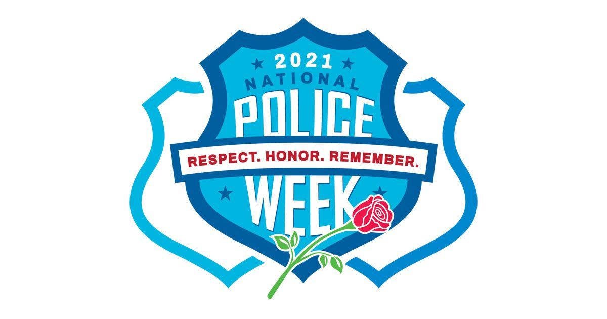 Log of badge that says 2021 National Police week with a rose