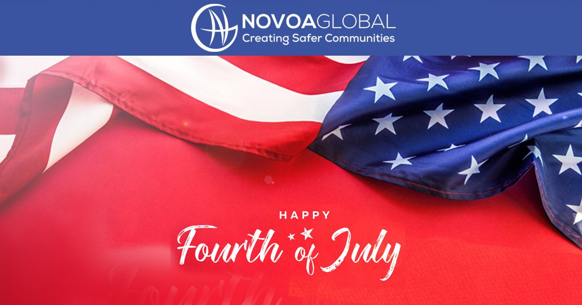 US Flag and words saying happy fourth of july with Novoaglobal logo