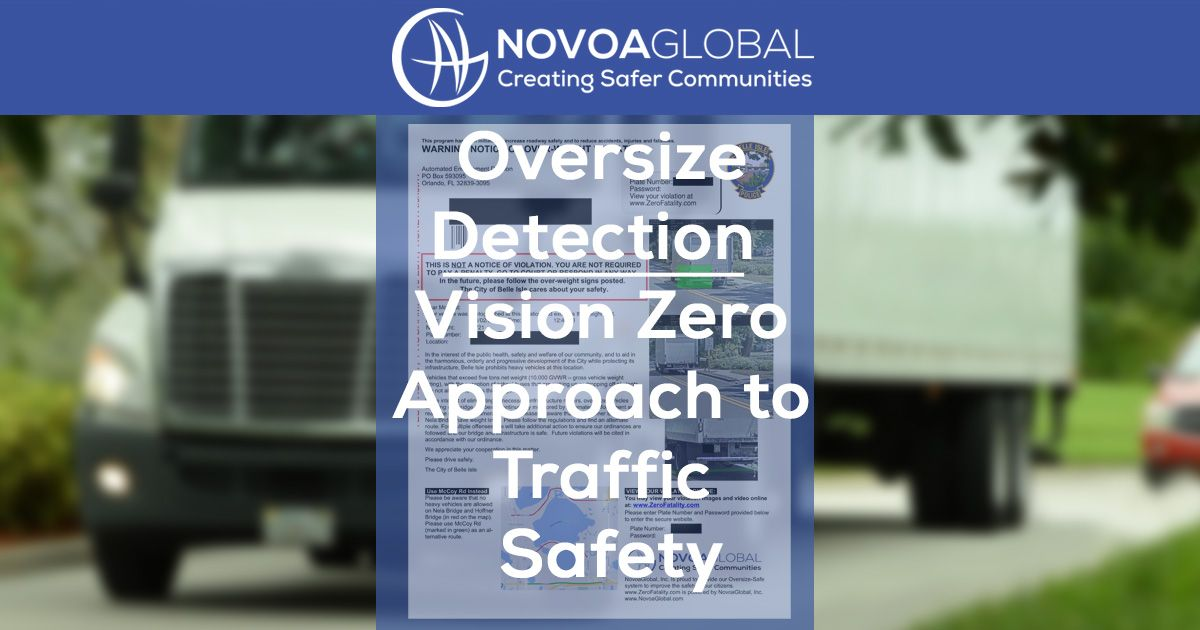 image of a truck with a warning notice on top of it and it says oversize detection